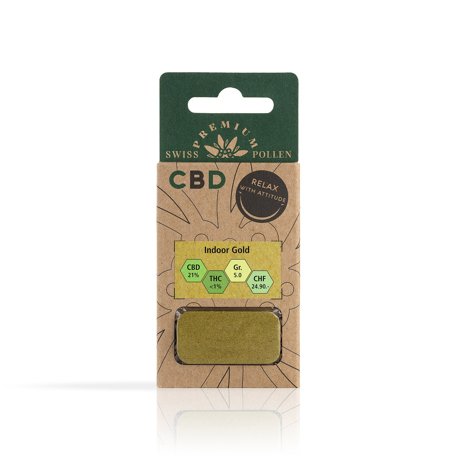 Pollen de CBD Indoor Gold. Contre stress, anxiété et douleurs