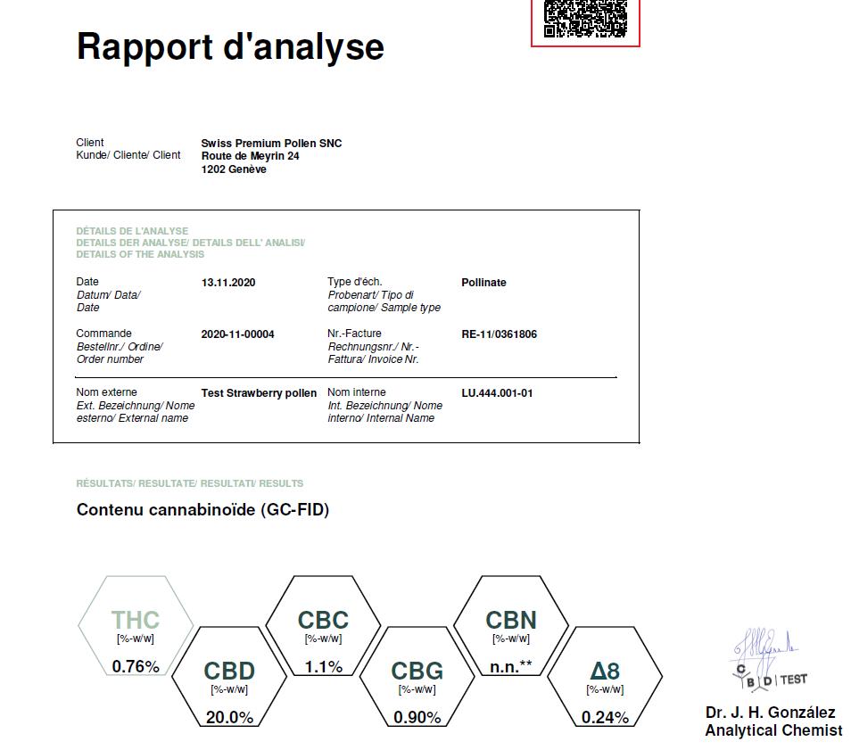 Pollen de CBD Aïfé Indoor Strawberry - rapport analyse. Contre stress, anxiété et douleurs